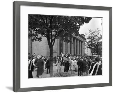 University Graduates Outside Sheffield City Hall, South Yorkshire, 1967-Michael Walters-Framed Photographic Print