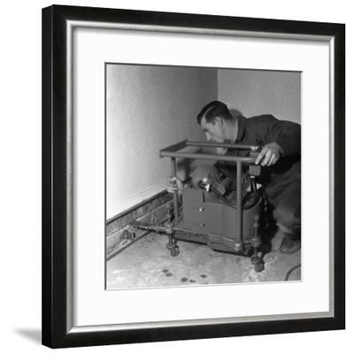 Installing a Damp Proof Course in a House in Goldthorpe, South Yorkshire, 1957-Michael Walters-Framed Photographic Print