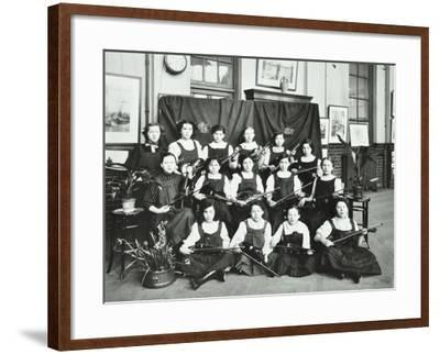 Girls Swimming Championship Team with their Shield, Tollington Park Central School, London, 1915--Framed Photographic Print