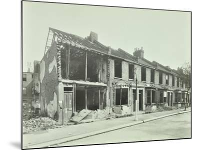 Bombed Houses, Trigo Road, Poplar, London, Wwii, 1943--Mounted Photographic Print