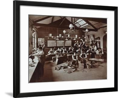 Boys Making Shoes at the Anerley Residential School for Elder Deaf Boys, Penge, 1908--Framed Photographic Print