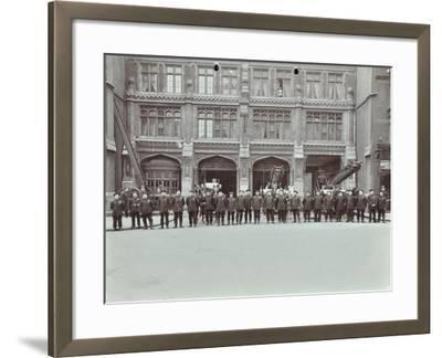 Firemen Lined Up Outside Bishopsgate Fire Station, Bishopsgate, City of London, 1908--Framed Photographic Print