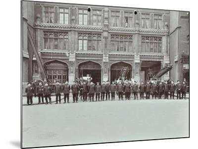 Firemen Lined Up Outside Bishopsgate Fire Station, Bishopsgate, City of London, 1908--Mounted Photographic Print