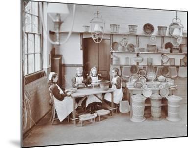 Basketry Workshop at Elm Lodge Residential School for Elder Blind Girls, London, 1908--Mounted Photographic Print