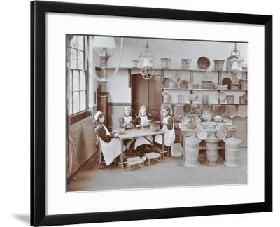 Basketry Workshop at Elm Lodge Residential School for Elder Blind Girls, London, 1908--Framed Photographic Print