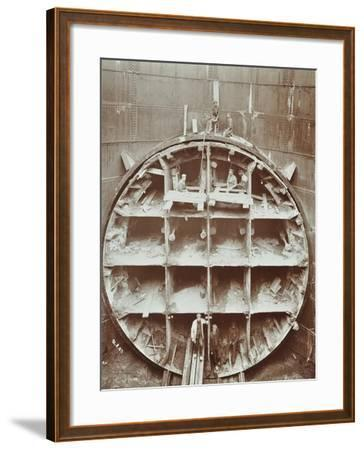 Men Standing in the Cutting Shield, Rotherhithe Tunnel, Stepney, London, August 1907--Framed Photographic Print