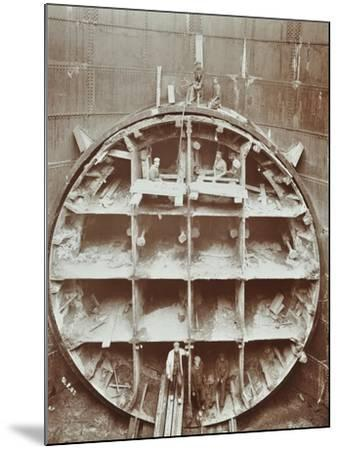 Men Standing in the Cutting Shield, Rotherhithe Tunnel, Stepney, London, August 1907--Mounted Photographic Print