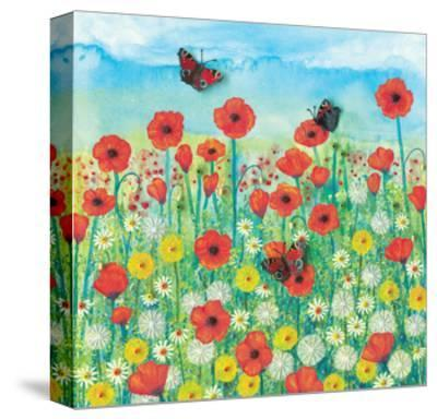Peacocks and Poppies-Jo Grundy-Stretched Canvas Print