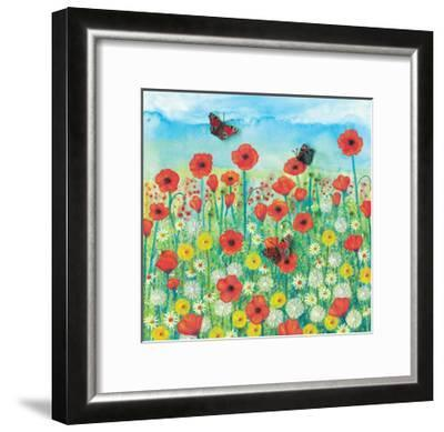 Peacocks and Poppies-Jo Grundy-Framed Giclee Print