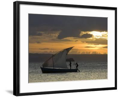 Fishing Boat at Dawn, Ramena Beach, Diego Suarez in North Madagascar-Inaki Relanzon-Framed Photographic Print