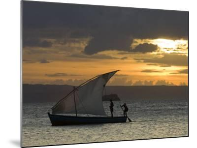 Fishing Boat at Dawn, Ramena Beach, Diego Suarez in North Madagascar-Inaki Relanzon-Mounted Photographic Print