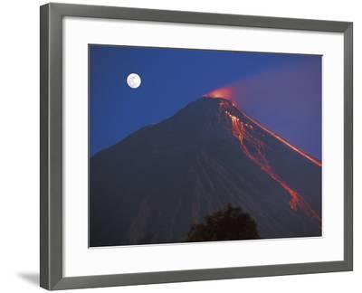 Siau Volcano Erupting with Moon Behind, N Sulawesi, Indonesia-Jurgen Freund-Framed Photographic Print