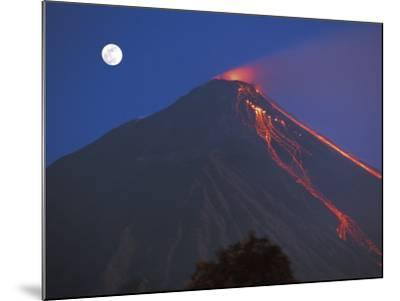 Siau Volcano Erupting with Moon Behind, N Sulawesi, Indonesia-Jurgen Freund-Mounted Photographic Print