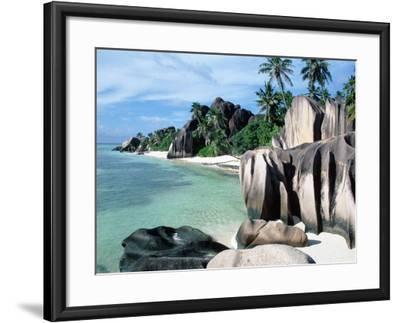 Rocky Coast and Beach, La Digue, Anse Source D'Argent, Seychelles-Reinhard-Framed Photographic Print