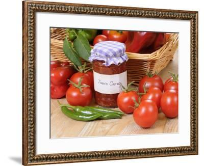 Country Kitchen Scene with Home Made Chutney and Ingredients - Tomatoes and Peppers, UK-Gary Smith-Framed Photographic Print
