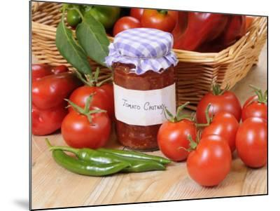 Country Kitchen Scene with Home Made Chutney and Ingredients - Tomatoes and Peppers, UK-Gary Smith-Mounted Photographic Print