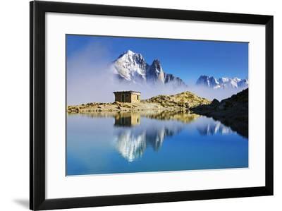 Mountain Landscape, Lac Blanc, Aiguille Vert and Les Drus with Clouds Rising, Haute Savoie, France-Frank Krahmer-Framed Photographic Print