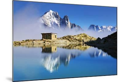 Mountain Landscape, Lac Blanc, Aiguille Vert and Les Drus with Clouds Rising, Haute Savoie, France-Frank Krahmer-Mounted Photographic Print