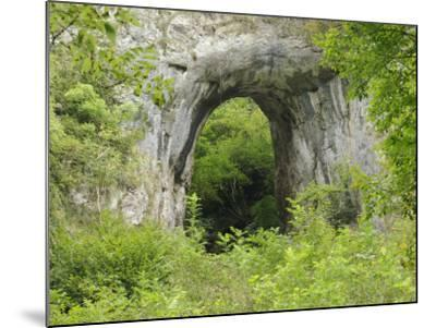 Natural Rock Arch Leading to Reynards Cave, Dovedale, Peak District Np, Derbyshire, UK-Gary Smith-Mounted Photographic Print