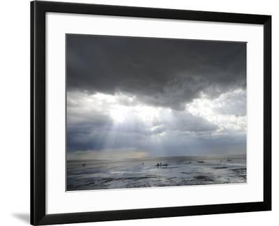 The Wash, Norfolk, Beach Landscape with Storm Clouds and Bait Diggers, UK-Gary Smith-Framed Photographic Print