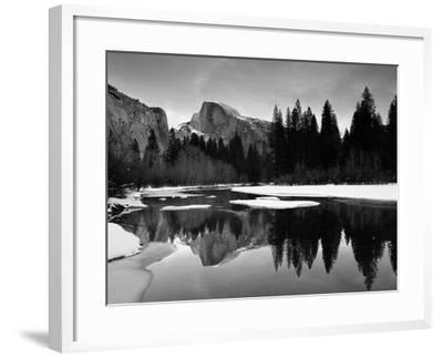 Half Dome Above River and Winter Snow, Yosemite National Park, California, USA-David Welling-Framed Photographic Print