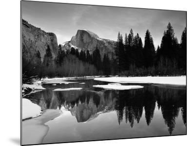 Half Dome Above River and Winter Snow, Yosemite National Park, California, USA-David Welling-Mounted Photographic Print