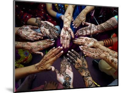 Pakistani Girls Show Their Hands Painted with Henna Ahead of the Muslim Festival of Eid-Al-Fitr-Khalid Tanveer-Mounted Photographic Print