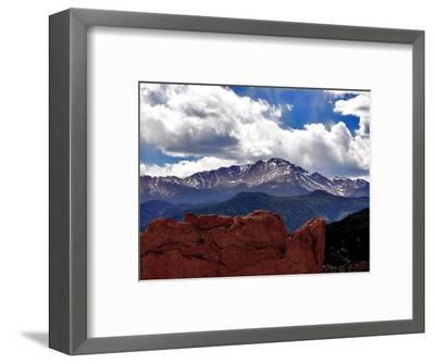 The Sun Breaks Through the Clouds to Highlight the Summit of Pikes Peak--Framed Photographic Print