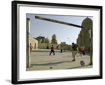 Children Play Soccer--Framed Photographic Print