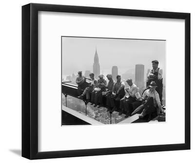 Construction Workers Take a Lunch Break on a Steel Beam Atop the RCA Building at Rockefeller Center--Framed Photographic Print