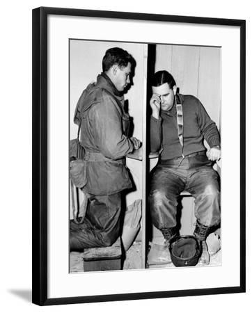 A Catholic Chaplain Hears the Confession of a Young Private after Services--Framed Photographic Print