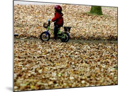 Ein Kind Radelt Am Dienstag, 8.November 2005, Zwischen Dem Herbstlaub--Mounted Photographic Print