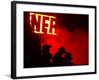 Stockmen Watch the Opening Ceremonies of the National Finals Rodeo--Framed Photographic Print