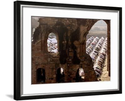 Muslims Offer Eid Prayers at the Ruins of Jami Mosque, Which was Built in 1345 AD-Manish Swarup-Framed Photographic Print