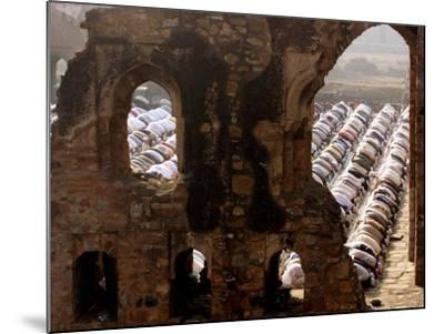 Muslims Offer Eid Prayers at the Ruins of Jami Mosque, Which was Built in 1345 AD-Manish Swarup-Mounted Photographic Print