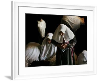 Muslim Women Worshippers Pray Inside the Golden Dome of the Rock--Framed Photographic Print