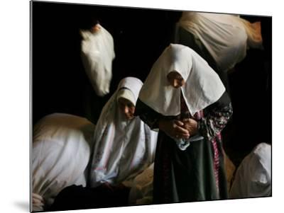 Muslim Women Worshippers Pray Inside the Golden Dome of the Rock--Mounted Photographic Print