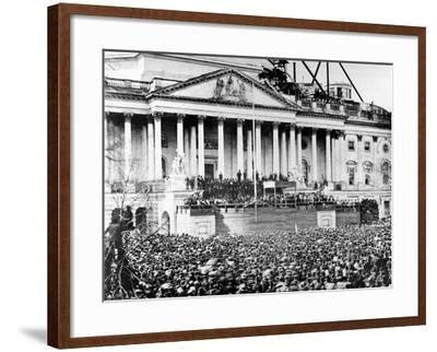 U.S. President Abraham Lincoln Stands Under Cover at Center of Capitol Steps--Framed Photographic Print