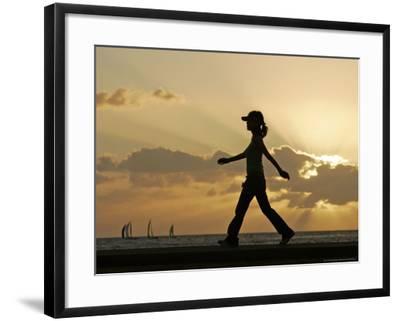 Sunset Walker, Honolulu, Hawaii-Marco Garcia-Framed Photographic Print