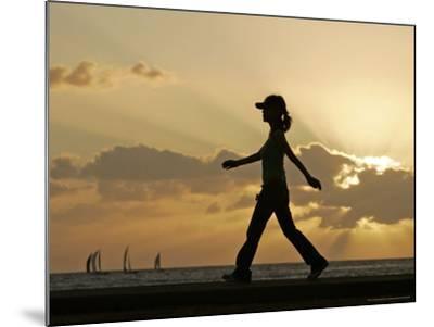 Sunset Walker, Honolulu, Hawaii-Marco Garcia-Mounted Photographic Print