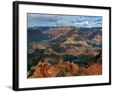 Tourists Hike Along the South Rim of the Grand Canyon--Framed Photographic Print