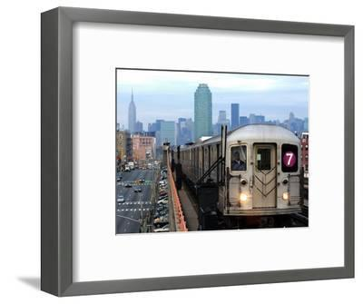 The Number 7 Train Runs Through the Queens Borough of New York--Framed Photographic Print