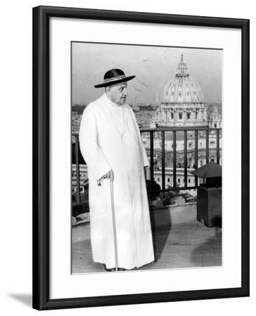 Pope John XXIII on the Terrace of a IX-Century Tower in the Vatican Gardens April 15, 1963--Framed Photographic Print
