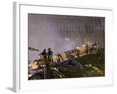 Two New York Firefighters View the Smoldering Rubble--Framed Photographic Print