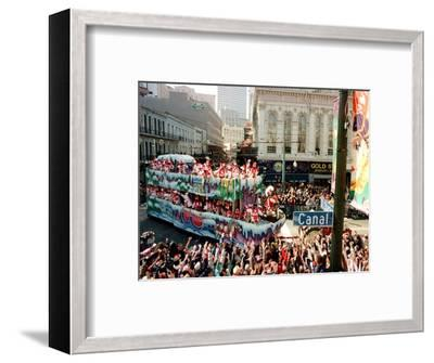 Mardi Gras Revellers Greet a Float from the Zulu Parade--Framed Photographic Print