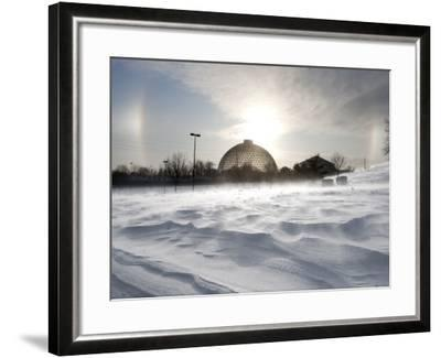 Sun Dog Forms Above the Desert Dome at Omaha's Henry Doorly Zoo, in Omaha, Nebraska--Framed Photographic Print
