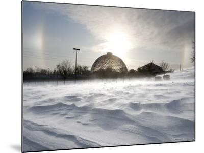 Sun Dog Forms Above the Desert Dome at Omaha's Henry Doorly Zoo, in Omaha, Nebraska--Mounted Photographic Print