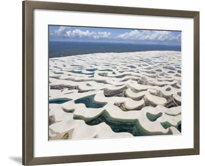Aerial View of the Sand Dunes at the Lencois Maranhenses National Park, Brazil--Framed Photographic Print