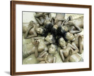Children Lie in Sludge as a Ritual to Induce Rain in Nari Bari, India--Framed Photographic Print