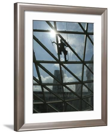 Roof Cleaning, Warsaw, Poland--Framed Photographic Print